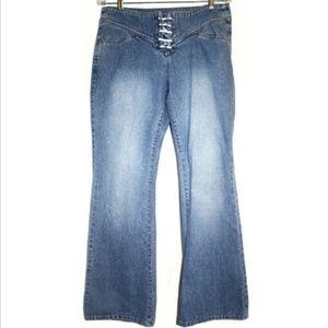 Calvin Klein Womens Sz 10 Jeans Lace Up Flared Leg
